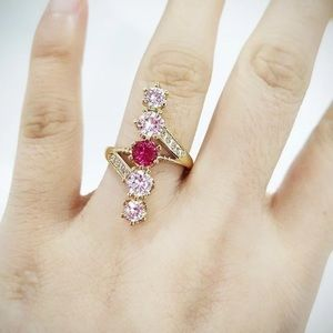 *NEW* 18K Gold Girls Party Ruby Diamond Ring